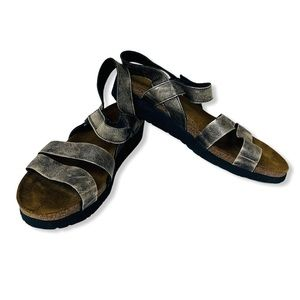 NAOT Israel Suede Leather Metallic Velcro  9 970